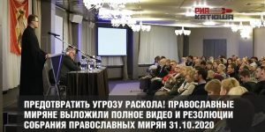 Предотвратить угрозу раскола! Православные миряне выложили полное видео и резолюции собрания православных мирян 31.10.2020
